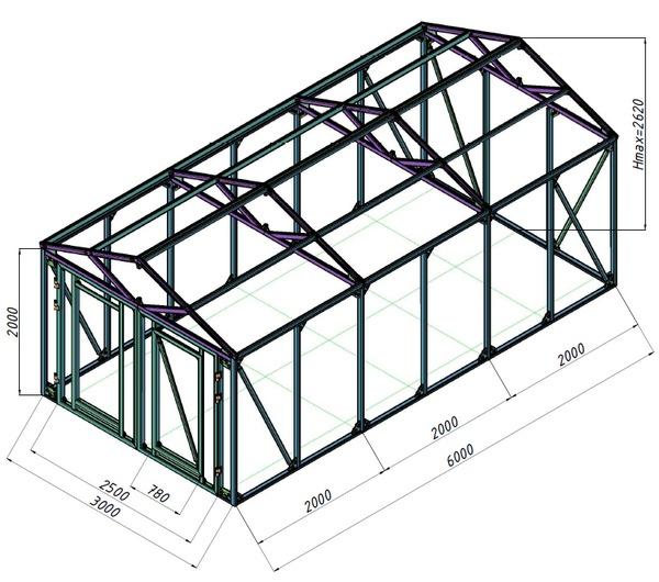 Схема каркаса гаража с
